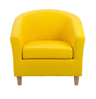 Junior Tub Chair With Wooden Legs - Yellow thumbnail