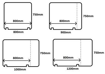 Screens For 800mm Deep Desks Showing Notches thumbnail