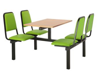 SD2 Fast Food Unit - 4-Seater, Access Both Sides, Beech Table thumbnail