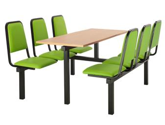 SD2 Fast Food Unit - 6-Seater, Access Both Sides, Beech Table thumbnail
