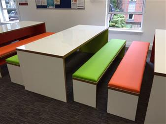 Woodland Tables With Upholstered Padded Benches  thumbnail