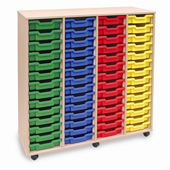 Wooden 56 Shallow Tray Storage - 4 Store Mobile thumbnail