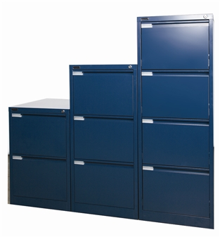 Blue Metal 2, 3, & 4-Drawer Filing Cabinets thumbnail
