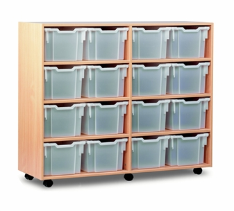 Wooden 16 Deep Tray Mobile Storage Unit thumbnail