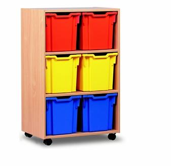 Wooden 6 Jumbo Tray Mobile Storage Unit - Tall thumbnail