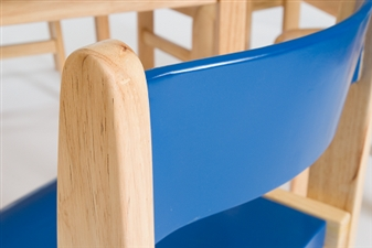 Blue / Natural Wood Stacking Classroom Chair thumbnail