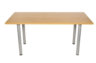 Beech Rectangular Meeting Room Table With Silver Legs thumbnail