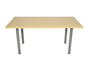 Oak Rectangular Meeting Room Table With Silver Legs thumbnail