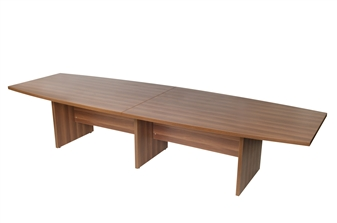 3.6m Boat-Shaped Boardroom Table - Walnut thumbnail