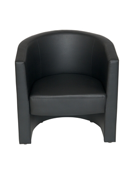 Tub Reception Chair In Black Leather thumbnail