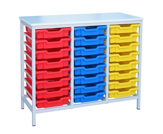 Low Metal Frame Static Storage Unit - 24 Trays White Frame thumbnail