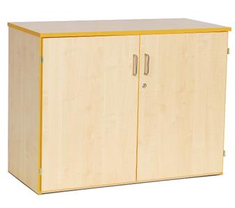 Coloured Edge Wooden Storage Cupboard 768mm High - Red Edging 2 Adjustable Shelves thumbnail
