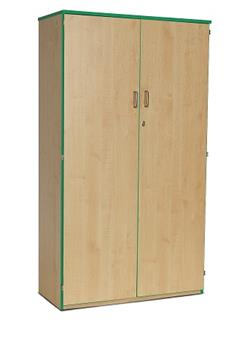 Coloured Edge Wooden Storage Cupboard 1818mm High - Green Edging 1 Fixed & 4 Adjustable Shelves thumbnail