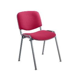 claret Fabric Stacking Chair Chrome Frame thumbnail