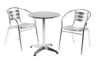 Aluminium Cafe / Recreational Armchair With Aluminium Round Cafe Table thumbnail
