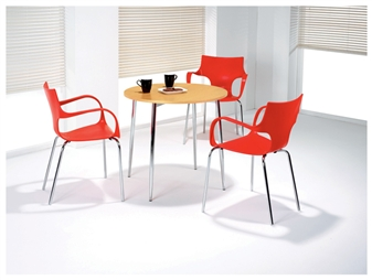 Beech 4 Leg Cafe / Bistro Table With Raza Chairs thumbnail