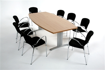 Boat Shape Folding Meeting Table With Chairs thumbnail