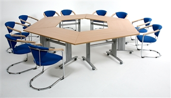 Elite Range Trapezoidal Flip Top Tables On Wheels thumbnail