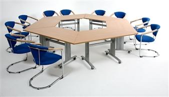 Elite Range Trapezoidal Flip Top Tables On Wheels thumbnail