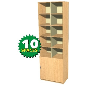 10 Space Double Height Pigeon Hole / Cupboard Unit thumbnail