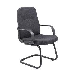 Executive Cantilever Fabric Chair 1 - black Frame Charcoal Fabric thumbnail