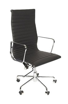 Charles Eames Style High Back Ribbed Executive Chair  thumbnail