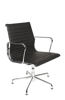 Charles Eames Style Medium Back Ribbed Boardroom Chair  thumbnail
