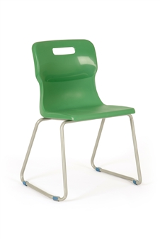 Titan Skid Frame Polypropylene Chair - Green thumbnail