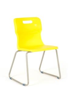 Titan Skid Frame Polypropylene Chair - Yellow thumbnail