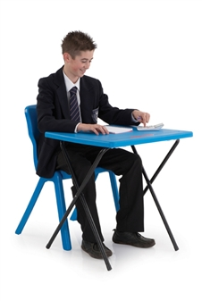 Polypropylene Folding Exam Desk - Blue thumbnail