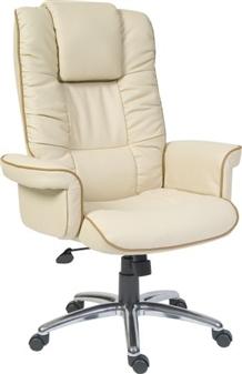 Cream Leather Executive Armchair