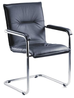 Cantilever Leather Faced Reception Armchair 1