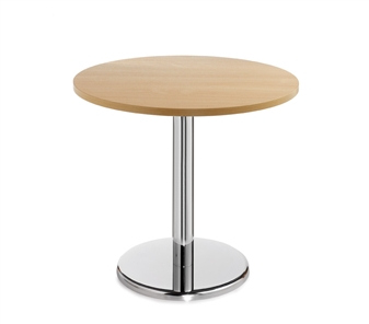 Chrome Round Base Cafe/Bistro Table - Round - Beech