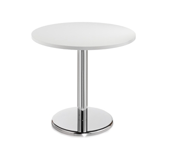 Chrome Round Base Cafe/Bistro Table - Round - White