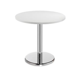 Chrome Round Base Cafe/Bistro Table - Round - White