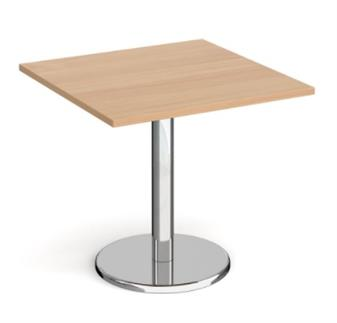 Chrome Round Base Cafe/Bistro Table - Square - Walnut