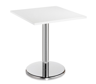 Chrome Round Base Cafe/Bistro Table - Square - White