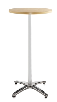 Chrome Leg Base Cafe/Bistro Tables - Tall - Round - Beech