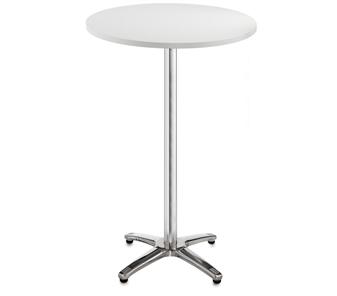 Chrome Leg Base Cafe/Bistro Tables - Tall - Round - White