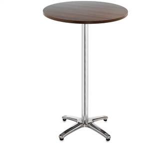 Chrome Leg Base Cafe/Bistro Tables - Tall - Round - Walnut