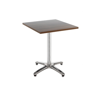 Chrome Leg Base Cafe/Bistro Table - Square - Walnut