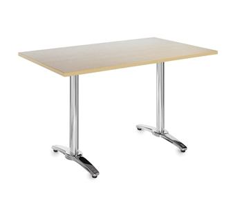 Chrome Leg Base Cafe/Bistro Table - Rectangular - Beech