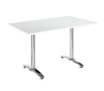 Chrome Leg Base Cafe/Bistro Table - Rectangular - White