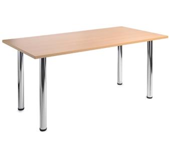 Rectangular Chrome Leg Table - Beech