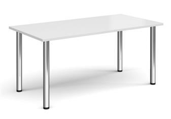 Rectangular Chrome Leg Table - Walnut