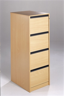 4-Drawer Wooden Filing Cabinets - Strip Handles