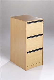 3-Drawer Wooden Filing Cabinets - Strip Handles