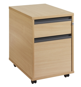 2-Drawer Mobile Wooden Pedestal - Strip Handles