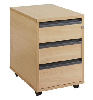 3-Drawer Mobile Wooden Pedestal - Strip Handles