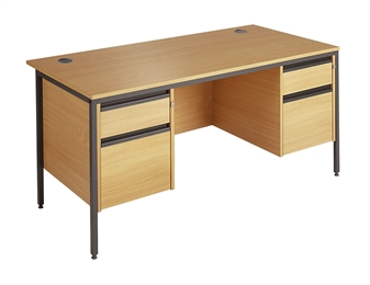 Budget Office Desk With 2 x 2-Drawer Pedestals